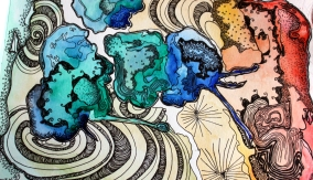 Abstract Water Colour+ Pen: Vortex,